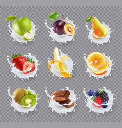 Fruits milk splashes realistic set vector
