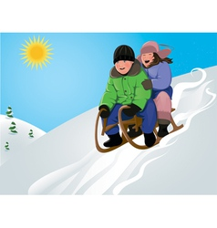 funny kids sledding vector image