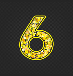 Gold glittering number 6 vector