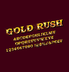 gold rush whiskey label font vector image
