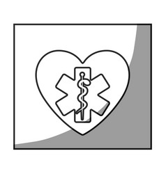 Grayscale square frame shading with star of life vector