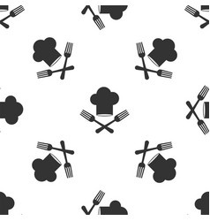 Grey chef hat and crossed fork icon isolated vector