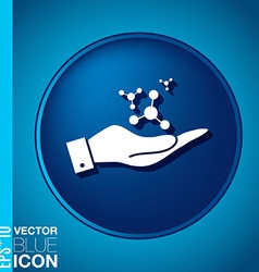 hand holding the atom molecule symbol icon of vector image