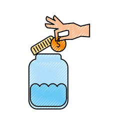 hand human with money and jar vector image