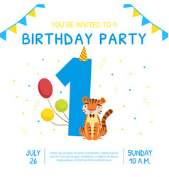 happy first birthday invitation card template vector image