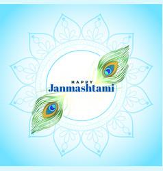 Happy janmashtami beautiful hindu festival vector