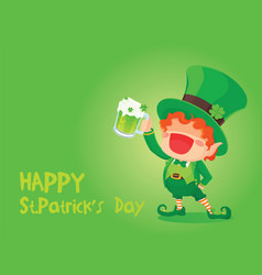 Happy leprechaun holding beer vector