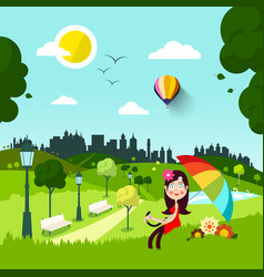 Happy woman in red dress and parasol in city park vector
