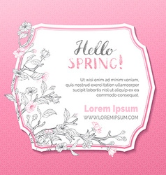 Hello spring card template vector