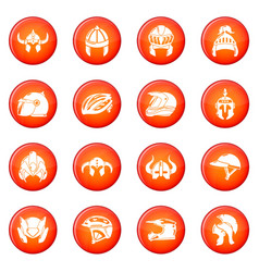 Helmet icons set red vector
