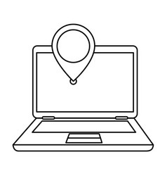 Laptop with pointer location isolated icon vector