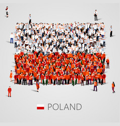 Large group of people in the poland flag shape vector