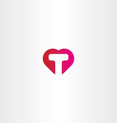 letter t heart icon logo vector image
