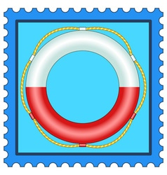 Lifebuoy on stamp vector image