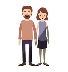 Light color shading caricature full body couple vector