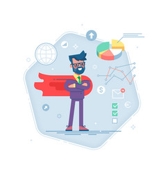 Man in a business suit and red cape superhero vector