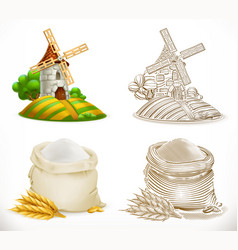 mill and flour 3d realism and engraving styles vector image