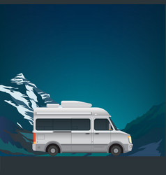 Mountain landscape with camper van vector
