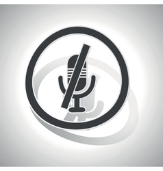 Muted microphone sign sticker curved vector