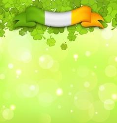 Nature Background with Shamrocks and Irish Flag vector image