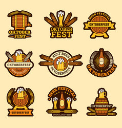 oktoberfest badges alcoholic drinks craft beer vector image