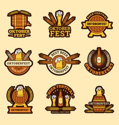 oktoberfest badges alcoholic drinks craft beer vector image