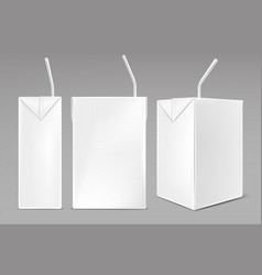 pack milk or juice with drinking straw vector image