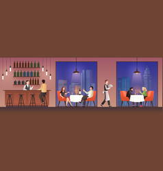 people in restaurant families having lunch in vector image