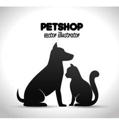 Pet shop poster dog and cat silhouette vector