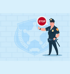 Policeman with stop chat bubble wearing uniform vector