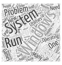 Problems with Windows Vista Word Cloud Concept vector