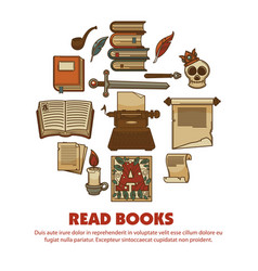read books agitative poster with ancient written vector image