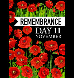 remembrance day poster 11 november card vector image