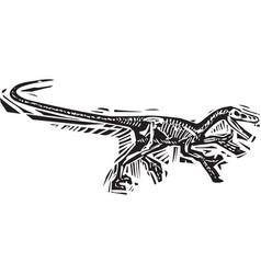 Running velociraptor fossil vector