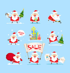 santa claus collection christmas sales vector image