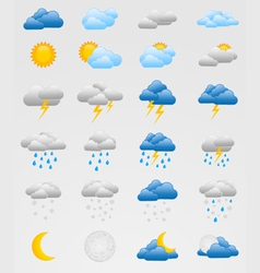 set colorful weather icons vector image
