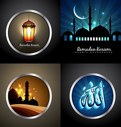 Set of attractive background of eid festival vector