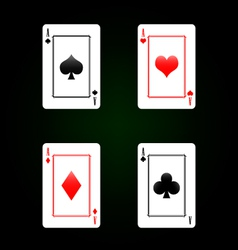 Set of playing cards - four aces vector