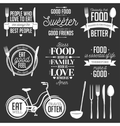 set vintage food related typographic quotes vector image