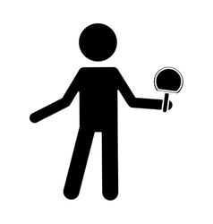 Silhouette character ping-pong player with racket vector