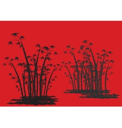 Silhouettes of bamboo with red background vector image