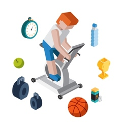 Sport exercise workout flat 3d isometric modern vector