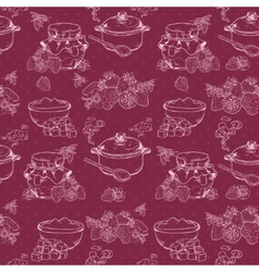 Strawberry jam seamless pattern vector image