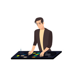 Stylish satisfied smiling disk jockey mixing vector
