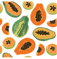 summer pattern with papaya vector image