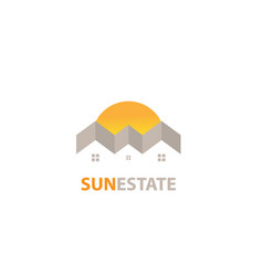 sun estate logo white background design vector image