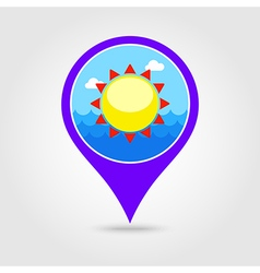 Sun pin map icon Summer Vacation vector