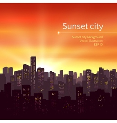 Sunset city landscape vector image