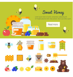 template for banner with honey vector image