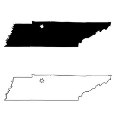 tennessee tn state map usa with capital city star vector image